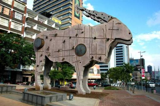 the new eland statue where the bull and boks fountain once stood outside street records in braamfontein